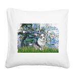 Lilies (#1) - Corgi (Bl.M) Square Canvas Pillow