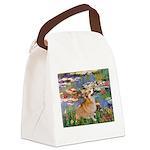 Lilies (2) & Corgi Canvas Lunch Bag