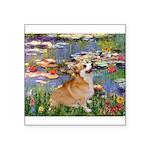 Lilies (2) & Corgi Square Sticker 3