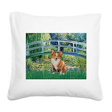 Bridge / Welsh Corgi (p) Square Canvas Pillow