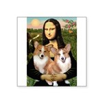 Mona / Corgi Pair (p) Square Sticker 3