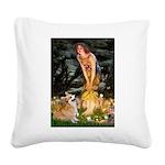 Fairies & Corgi Square Canvas Pillow