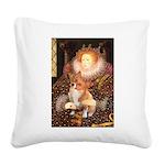 Queen / Welsh Corgi Square Canvas Pillow