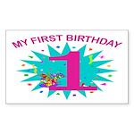 1st Birthday Rectangle Sticker