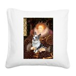 The Queen's Corgi (Bl.M) Square Canvas Pillow