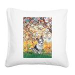 Spring - Corgi (Bl.M) Square Canvas Pillow