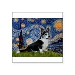 Starry Night / Welsh Corgi(bi Square Sticker 3