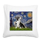 Starry Night / Welsh Corgi Square Canvas Pillow