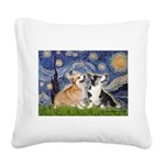 Starry Night / Corgi pair Square Canvas Pillow