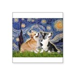 Starry Night / Corgi pair Square Sticker 3