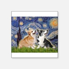 "Starry Night / Corgi pair Square Sticker 3"" x 3"""