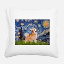 Starry Night Corgi Square Canvas Pillow