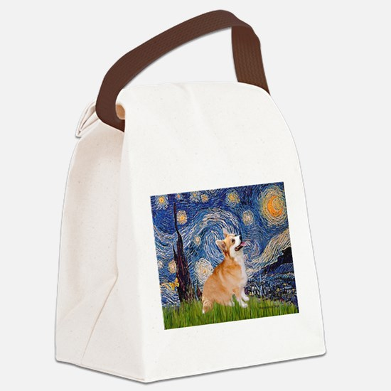 Starry Night Corgi Canvas Lunch Bag