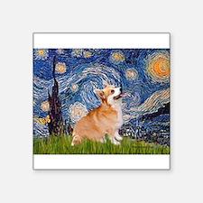 "Starry Night Corgi Square Sticker 3"" x 3"""