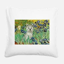 Irises / Westie Square Canvas Pillow