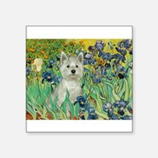 "Irises / Westie Square Sticker 3"" x 3"""