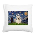 Starry Night/Westie Square Canvas Pillow