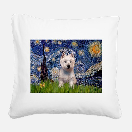 Starry - Westie (P) Square Canvas Pillow