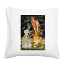 Fairies & Wheaten Terrier Square Canvas Pillow