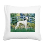 Bridge & Whippet Square Canvas Pillow