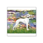 Lilies & Whippet Square Sticker 3