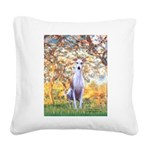 Spring / Whippet Square Canvas Pillow