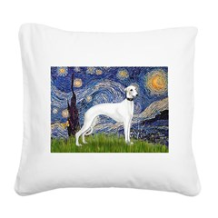 Starry Night / Whippet Square Canvas Pillow