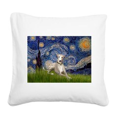 Starry Night Whippet Square Canvas Pillow