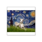 Starry Night Whippet Square Sticker 3