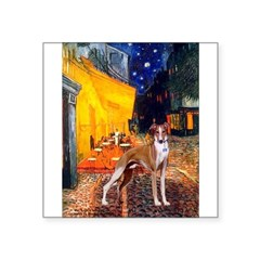 "Cafe & Whippet Square Sticker 3"" x 3"""