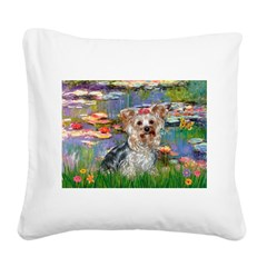 LILIES / Yorkie (T) Square Canvas Pillow