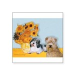 Sunflowers/PBGV + Wheaten T Square Sticker 3""