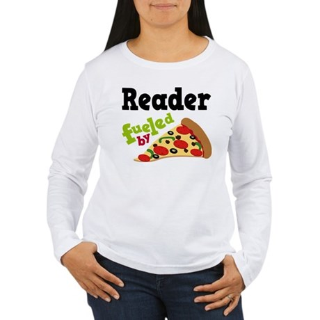Reader Fueled By Pizza Women's Long Sleeve T-Shirt