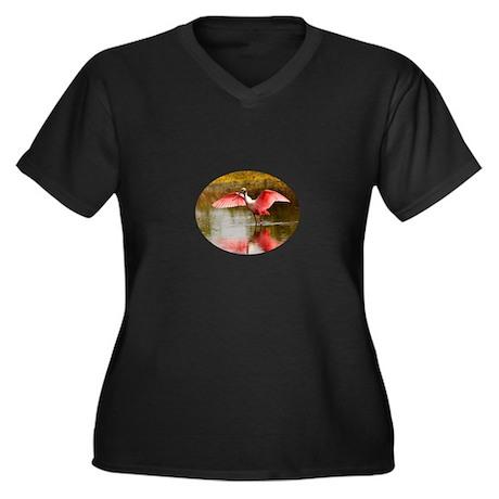 spoonbill Women's Plus Size V-Neck Dark T-Shirt