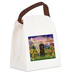 Autumn Angel & Affenpinscher Canvas Lunch Bag