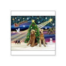 "Xmas Magic-Airedale Pair Square Sticker 3"" x 3"""