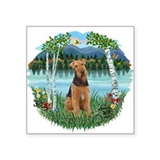 """Birches - Airedale 1.png Square Sticker 3"""" x 3"""""""