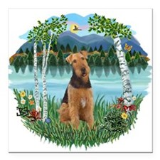 "Birches - Airedale 1.png Square Car Magnet 3"" x 3"""