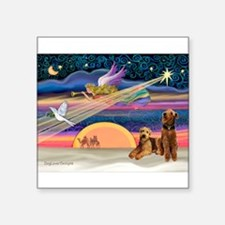 """XMAS Star-Airedale PAIR.png Square Sticker 3"""" x 3"""""""