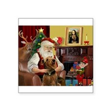 "Santa and his Airedale Square Sticker 3"" x 3"""