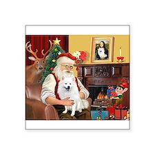 "Santa & Amer Eskimo Square Sticker 3"" x 3"""