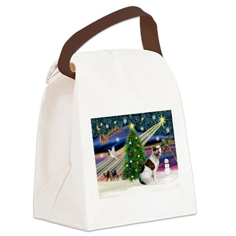 Xmas Magic & Amstaff (BW) Canvas Lunch Bag