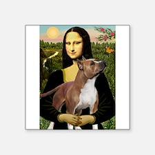 """Cute Mona lisa boston terrier Square Sticker 3"""" x 3"""""""