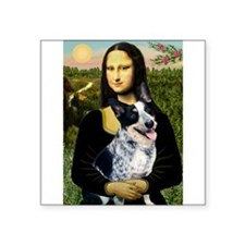 "Mona Lisa/Cattle Dog Square Sticker 3"" x 3"""