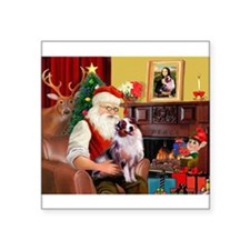 "Santa's Aussie (#1) Square Sticker 3"" x 3"""
