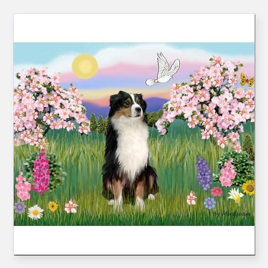 """Blossoms & Aussie (#2) Square Car Magnet 3"""" x 3"""""""