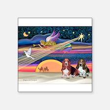 "Xmas Magic & 2 Bassets Square Sticker 3"" x 3"""