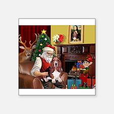 """Santa's Basset Hound Square Sticker 3"""" x 3"""""""