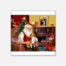 "Santa's Beagle Square Sticker 3"" x 3"""