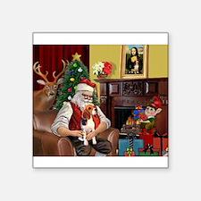 """Santa's Beagle Square Sticker 3"""" x 3"""""""